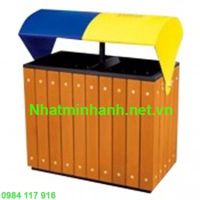 Thùng rác gỗ đôi A78-G