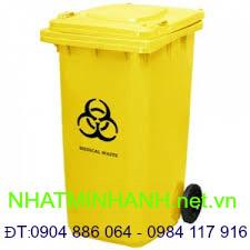 Thùng rác nhựa 120L-màu Vàng