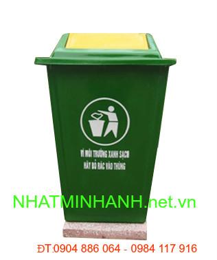 Thùng rác nhựa composite 60L đế cố định