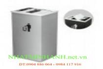 Thùng rác inox A34-E ( nắp lật và có gạt tàn thuốc lá)