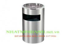 Thùng rác inox A35-C (có gạt tàn thuốc lá)