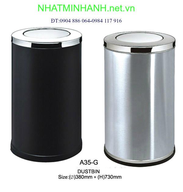 Thùng rác inox A35-G (nắp lật)