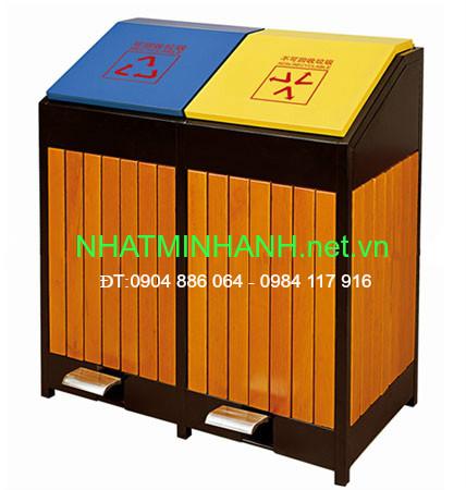 Thùng rác ngoài trời A58-H (thùng rác gỗ)