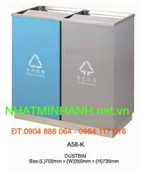 Thùng rác ngoài trời A58-K (thùng rác bằng thép)