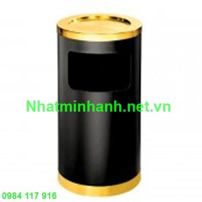 Thùng rác phun sơn đen vành inox vàng A35-H