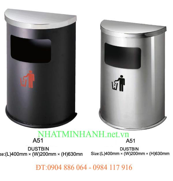 Thùng rác inox A51 (hình bán nguyệt)
