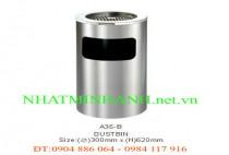 Thùng rác inox A35-B (có gạt tàn thuốc lá)