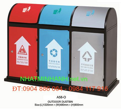 Thùng rác ngoài trời A58-O (thùng rác bằng thép)