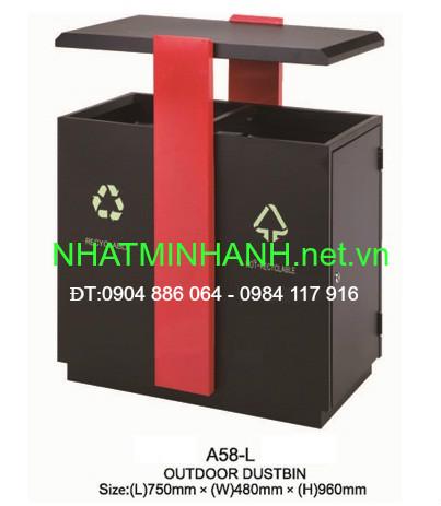 Thùng rác ngoài trời A58-L (thùng rác bằng thép)