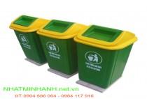 Thùng rác nhựa composite 90 lít đế cố định
