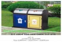Thùng rác ngoài trời A37-Q (thùng rác thép)
